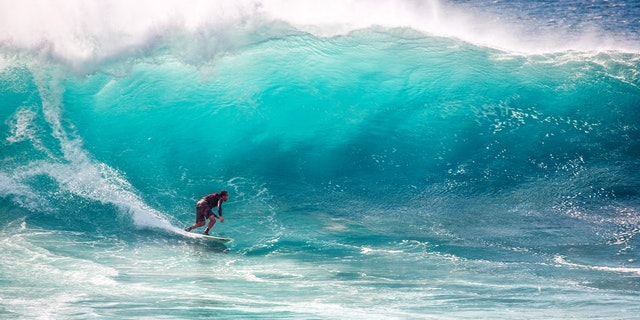 surfing a large wave